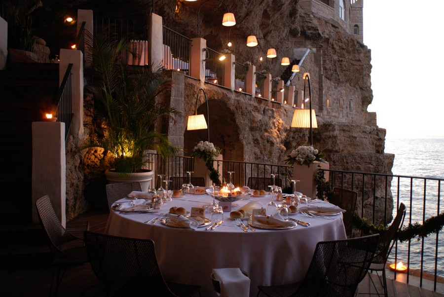 seaside cave restaurant at hotel grotta palazzese italy tourism on the edge. Black Bedroom Furniture Sets. Home Design Ideas