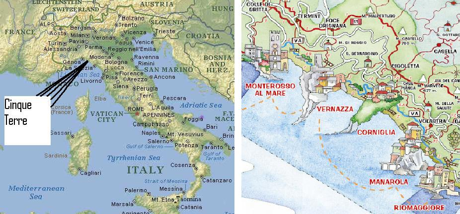Italy Map Cinque Terre.Cinque Terre Map Tourism On The Edge