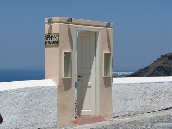 restaurant santorini doors to nowhere