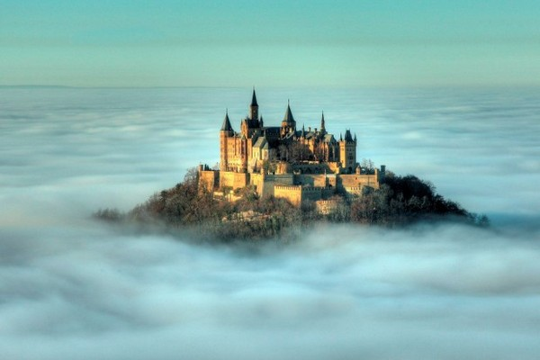 Hohenzoller-Castle clouds fog