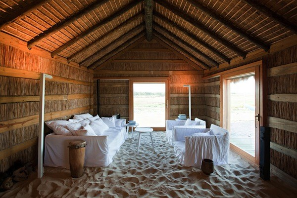 living room filled with sand