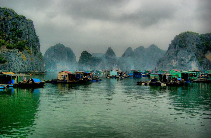 Floating fishing village, Halong Bay, Vietnam