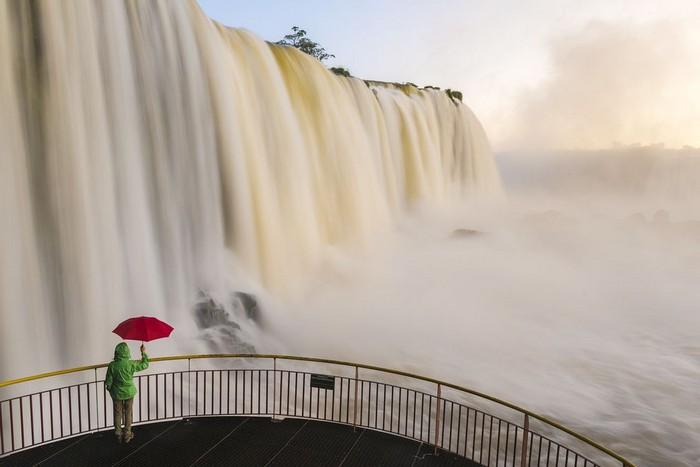 suspended platform at iguazu falls argentina brazil