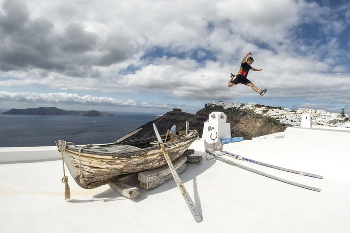 Pavel Petkuns of Latvia exploring the island of Santorini ahead of the Red Bull Art of Motion freerunning competition in Santorini, Greece on September 30, 2015.
