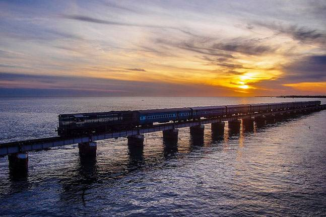 Pamban bridge train