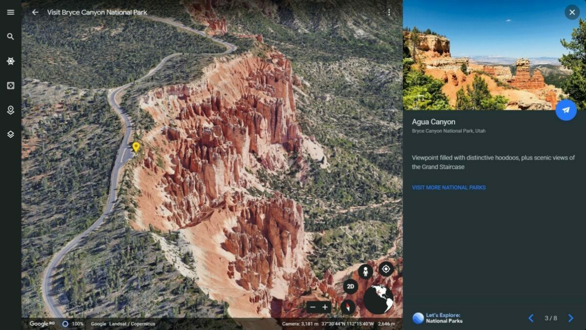 Bryce Canyon National Park 3D View from Google Earth