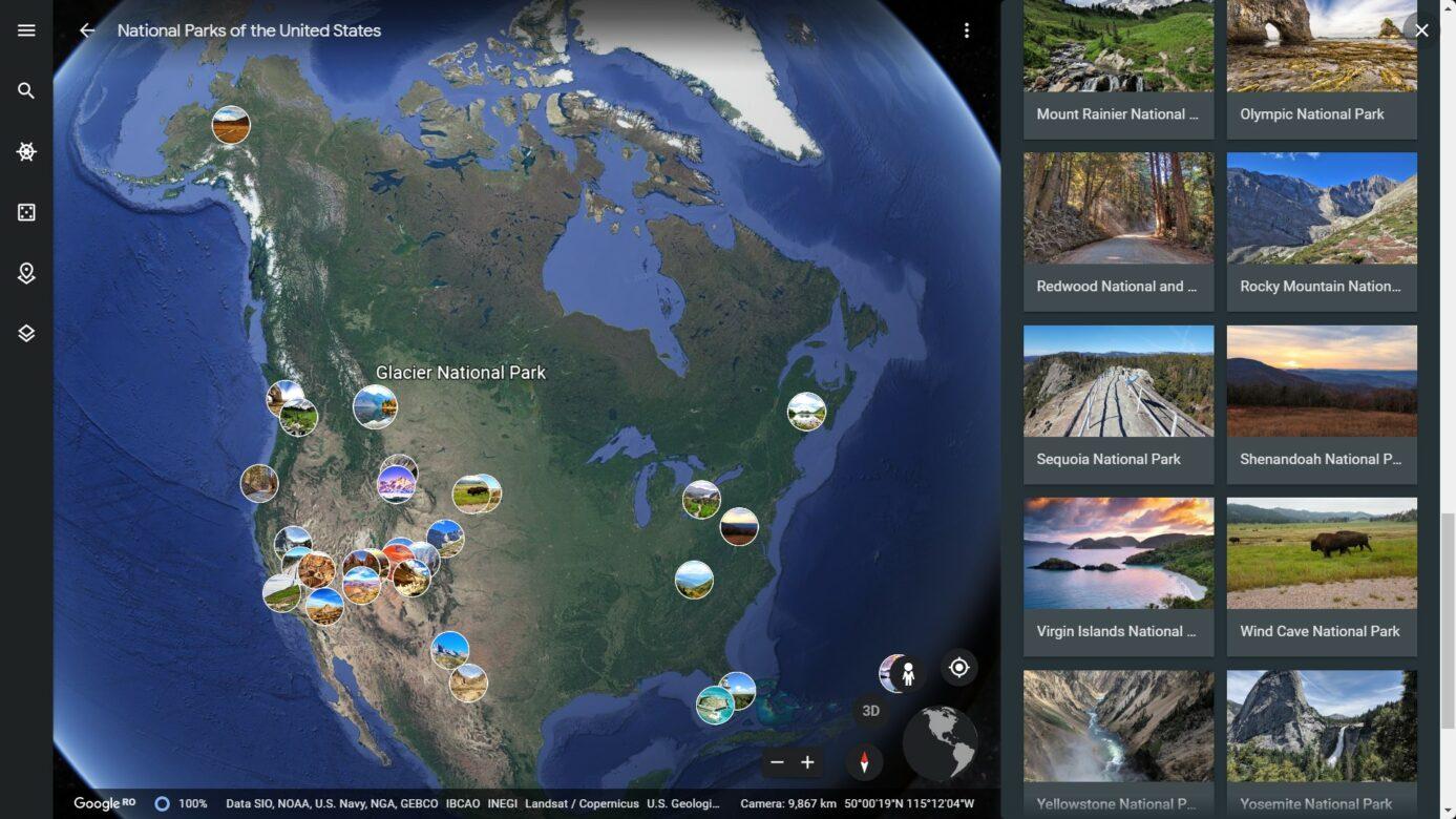 U.S. National Parks on Google Earth