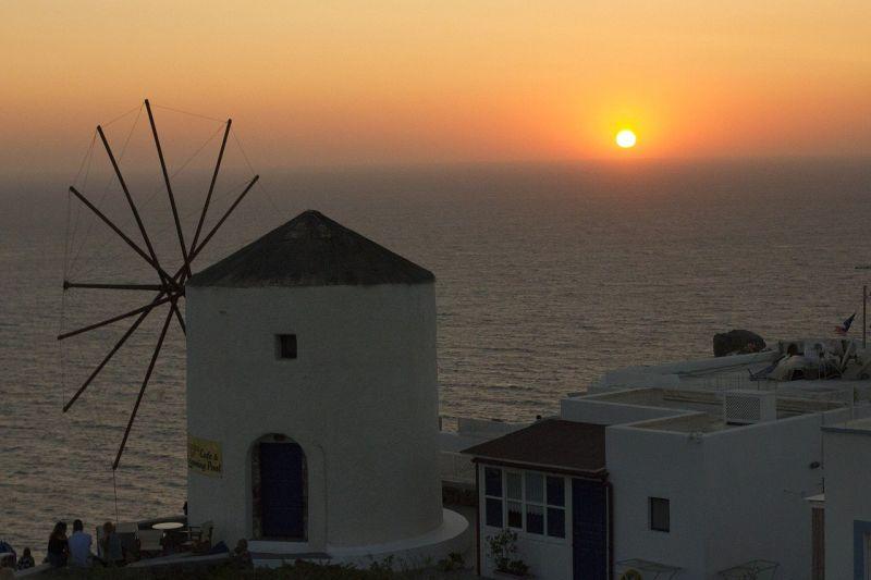 sunrise in Perissa, Santorini