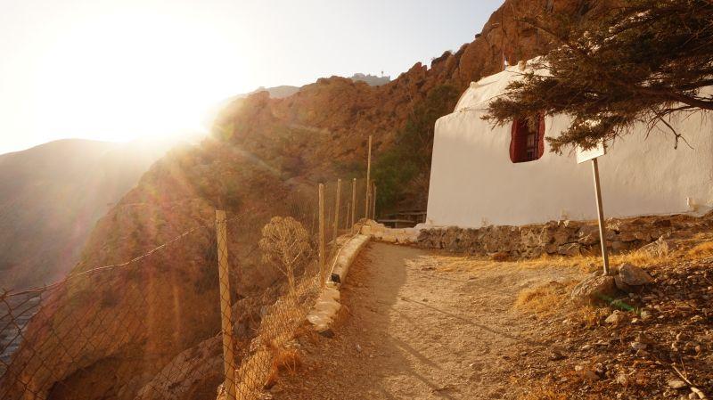 chapel Perissa sunset